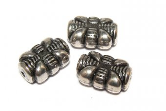 Margele din acril, metalizate, antique silver, 10x15 mm