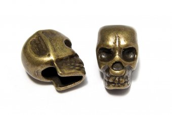 Margele din metal, craniu, bronz, 12x8 mm