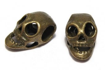 Margele din metal, craniu, bronz, 15x9 mm