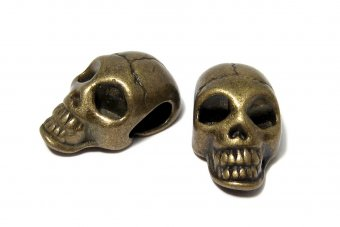 Margele din metal, craniu, bronz, 21x12 mm