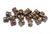 Diabolo Beads, 4x6 mm, Opaque Red Dark Travertin - 93200-86805