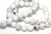 Howlite natural, alb, 8 mm